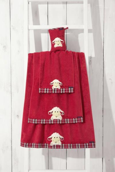 Handtuch aus Frottier, Sleepy Sheppy , Farbe: Rot