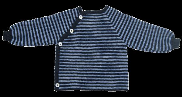 Ringelschlüttli - Baby-Pullover aus Merinowolle, Farbe: Marine/Hellblau