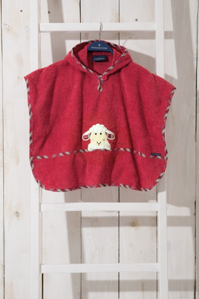 Poncho aus Frottier, Sleppy Sheppy, Farbe: Rot