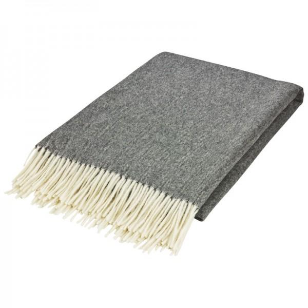 Wolldecke-fischgrat-100% Merinowolle, Farbe: Grau