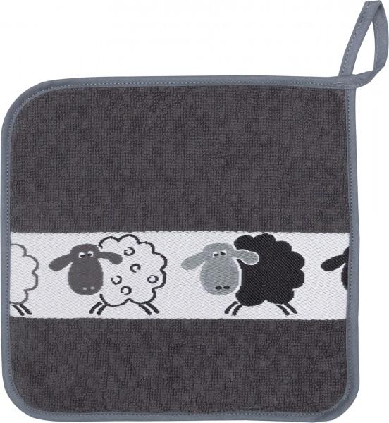 Frottee-Topflappen mit Schafbordüre, Farbe: Schwarz
