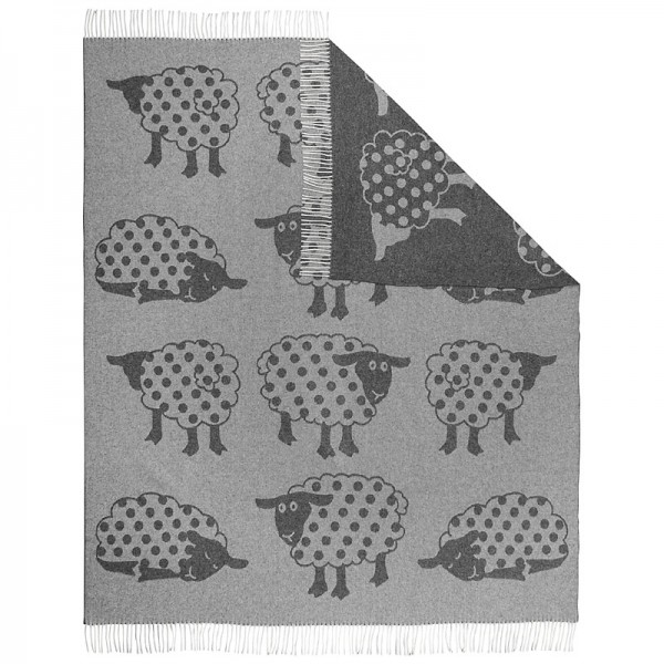 Wolldecke aus 100% Merinowolle mit Schafdruck