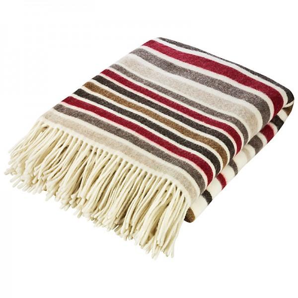 Gestreifte Decke mit Fransen, 130 x 180 cm, Farbe: Rot/Braun/Grau