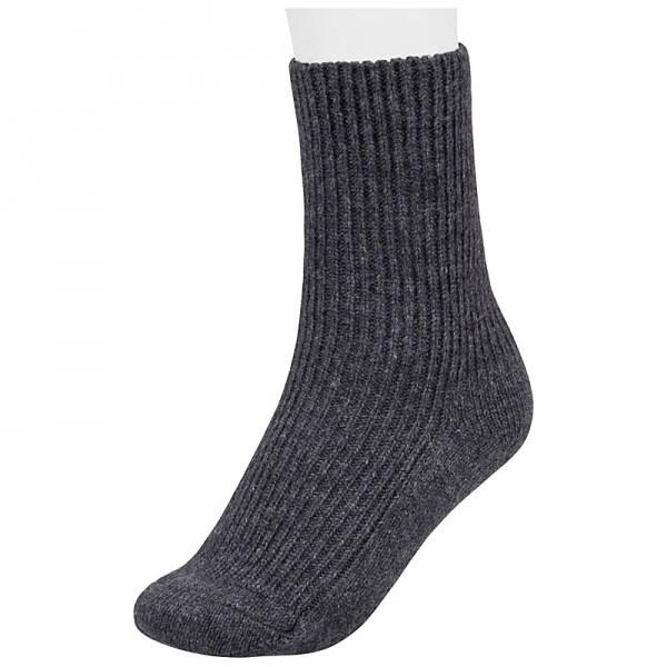 Socken aus Schurwolle ohne Gummi am Schaft, Farbe: Anthrazit