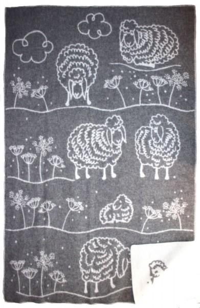 Wolldecke - Schaf mit Blumen, 140 x 200 cm
