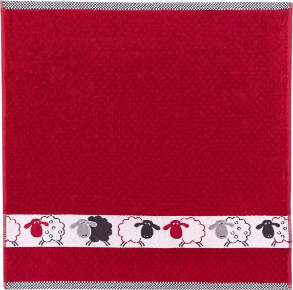 Frottee-Küchentuch mit Schafbordüre, Farbe: Rot