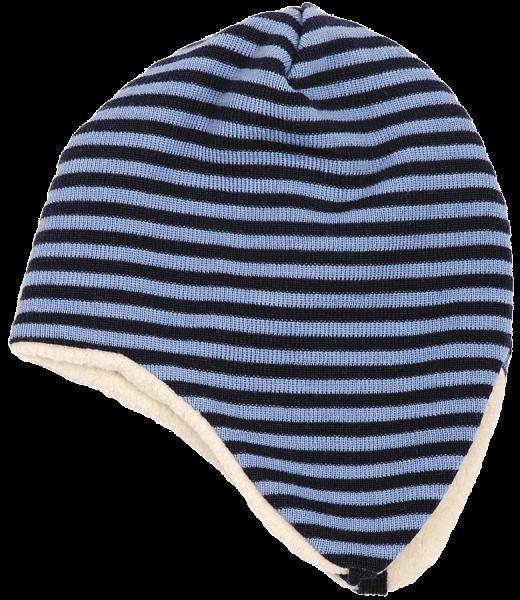 Ohrenmütze für Babys / Kinder aus Merinowolle, Farbe: Marine/Hellblau